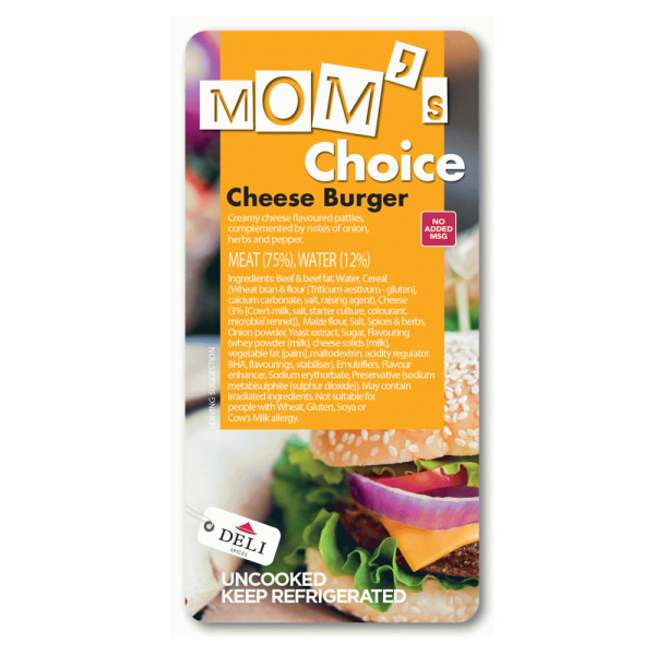 Moms choice black cheese burger